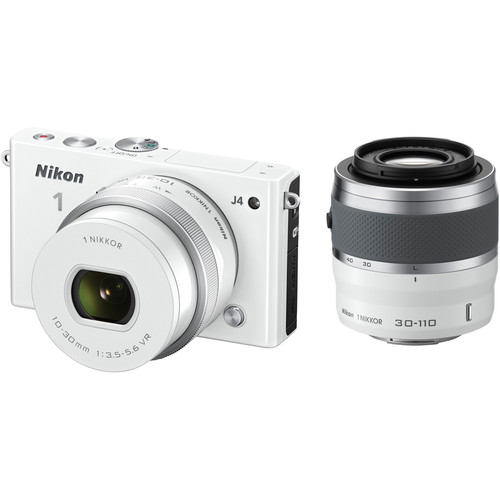 Nikon 1 J4 Mirrorless Digital Camera with 10-30mm and 30-110mm Lenses (White)