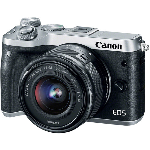 Canon EOS M6 Digital Camera with 15-45mm Lens - Sliver